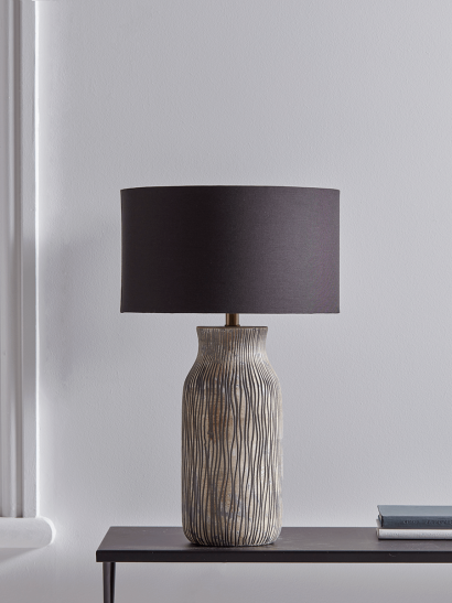 NEW Greywashed Textured Wooden Table Lamp