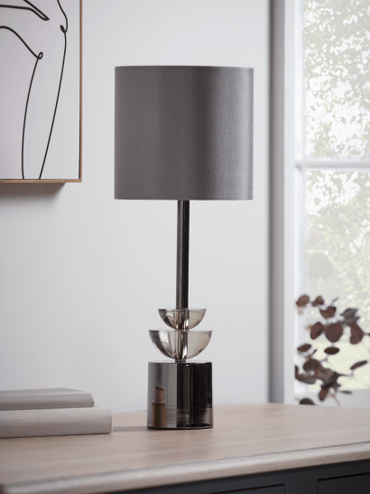 NEW Geometric Smoked Glass Table Lamp
