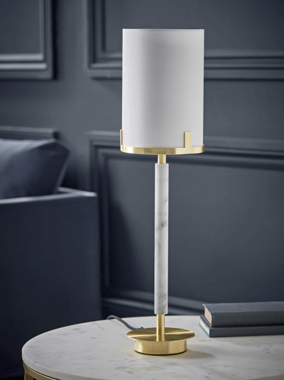 NEW Brushed Gold & Marble Effect Table Lamp