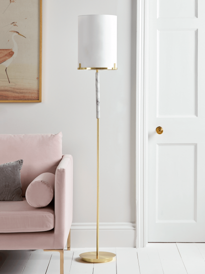 NEW Brushed Gold & Marble Effect Floor Lamp