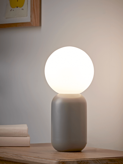 NEW Frosted Globe Table Lamp - Grey