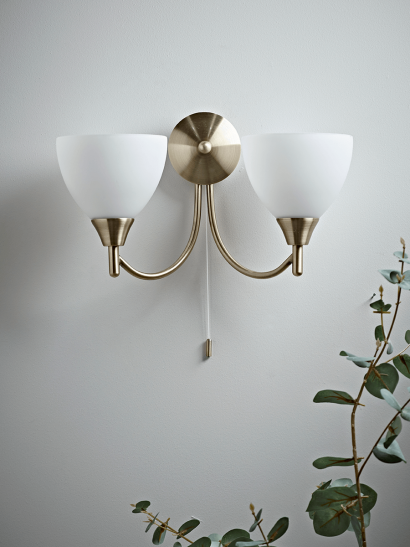 NEW Double Frosted Shade Wall Light