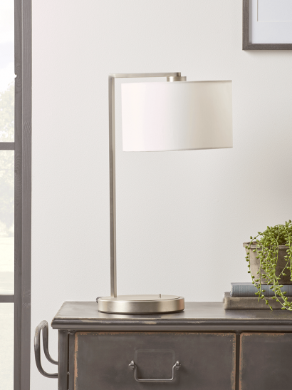 NEW Brushed Silver Table Lamp