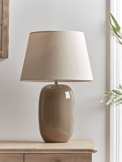 NEW Taupe Crackle Glaze Table Lamp