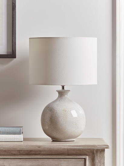 NEW Round Crackle Glaze Table Lamp