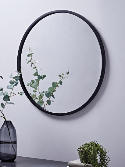 NEW Black Bevelled Round Mirror - Large
