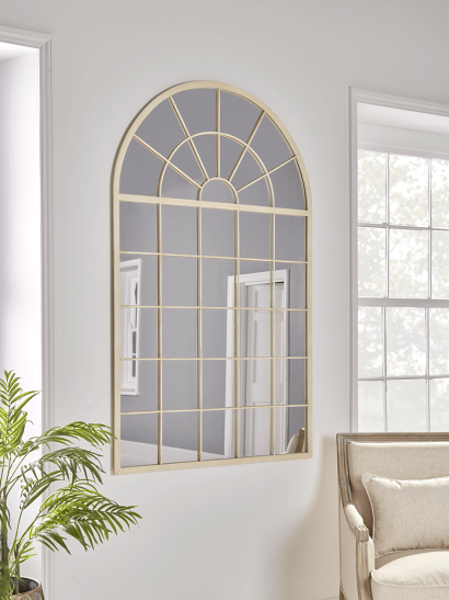NEW Arched Window Mirror - Antique White