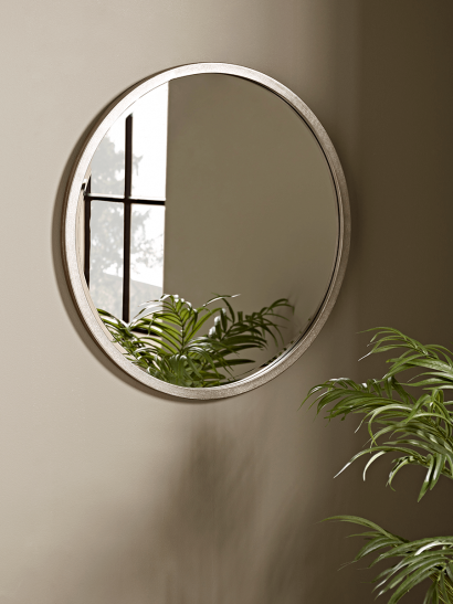 NEW Burnished Silver Bevelled Round Mirror - Small
