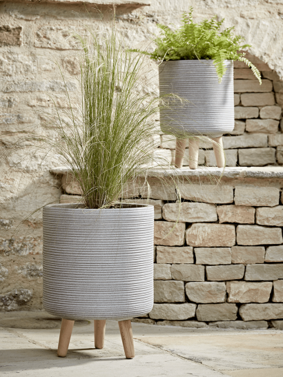 Two Grey Ribbed Standing Planters