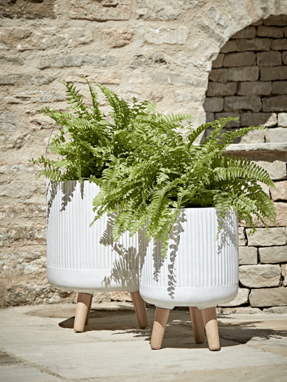 NEW Two Striped Standing Planters - Light Grey