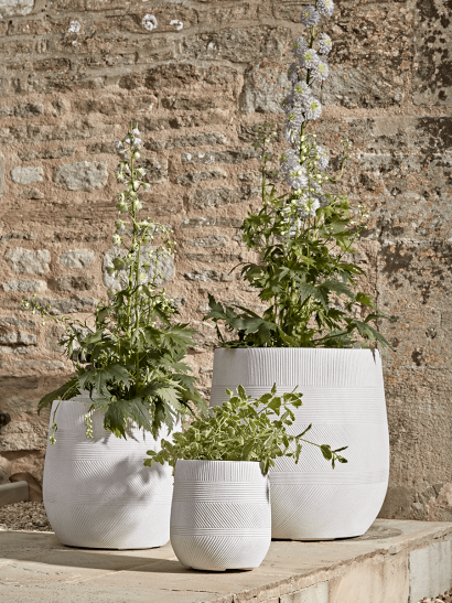NEW Three Geometric Etched Planters - Light Grey