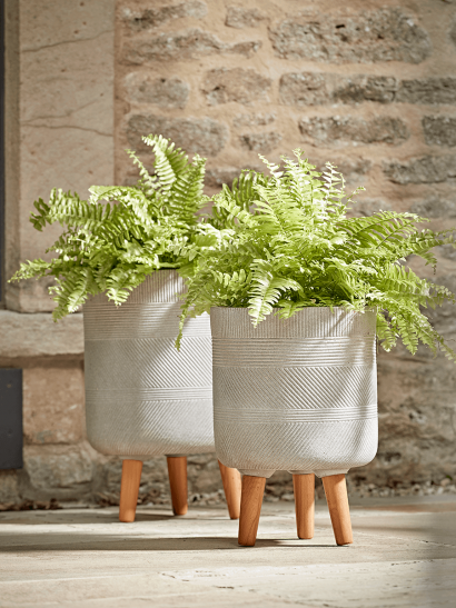 NEW Two Geometric Etched Standing Planters - Light Grey