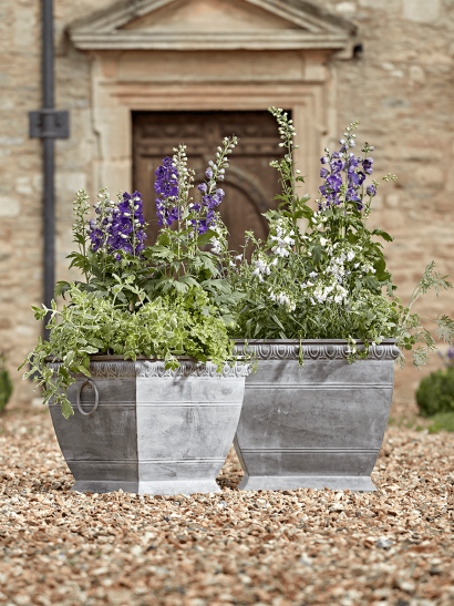 NEW Two Ornate Zinc Planters