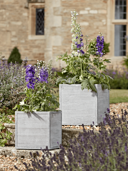 Two Ribbed Zinc Planters - Square