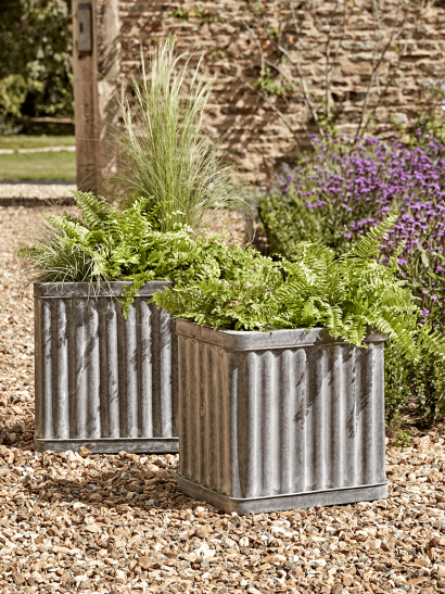 NEW Two Corrugated Zinc Planters
