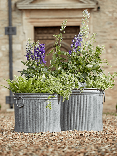 NEW Two Galvanised Planters -  Round
