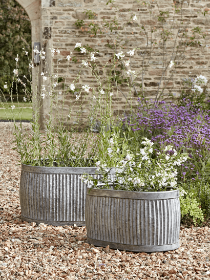 NEW Two Zinc Planters -  Oval