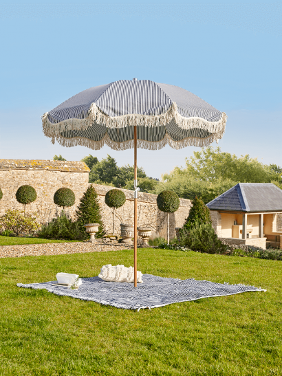 NEW Compact Fringed Parasol - Blue Stripe