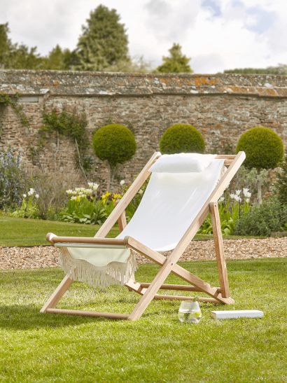 NEW Fringed Deck Chair - Antique White