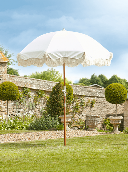 NEW Compact Fringed Parasol - Antique White