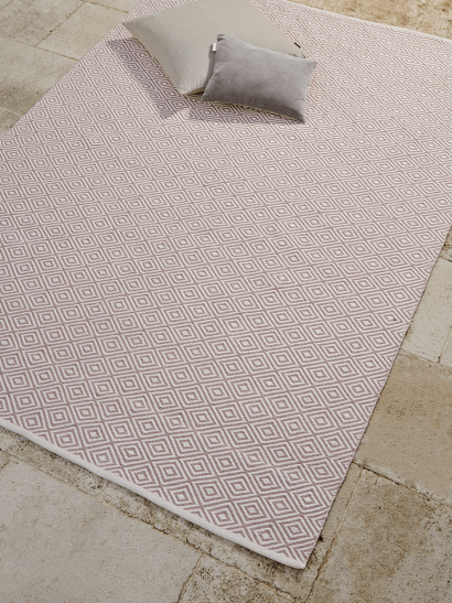 NEW Indoor Outdoor Squares Reversible Rug - Blush