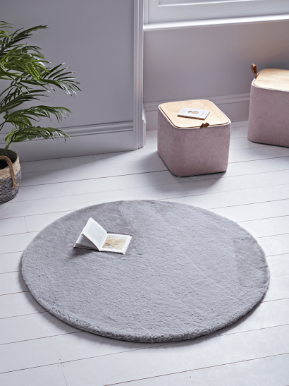 NEW Round Faux Fur Rug