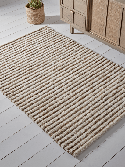 NEW Natural Striped Jute Rug
