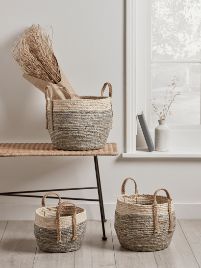 NEW Three Woven Cornleaf Baskets