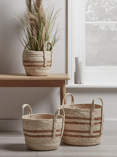 NEW Three Woven Striped Baskets