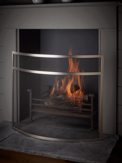 NEW Curved Fire Screen - Silver