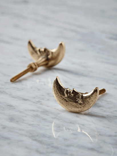 NEW Two Solid Brass Crescent Moon Knobs