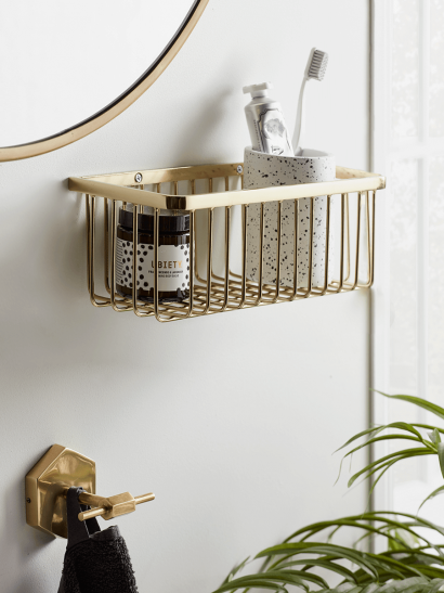 NEW Wall Mounted Wire Basket - Gold