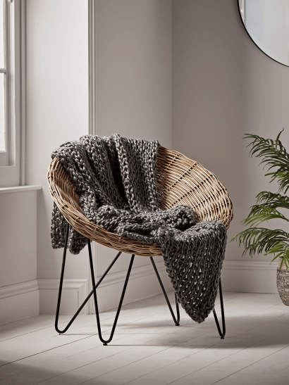 NEW Chunky Knit Throw - Charcoal