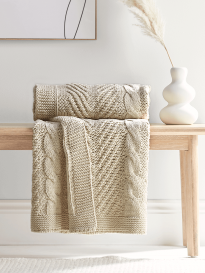 NEW Cotton Cable Knit Throw - Cream