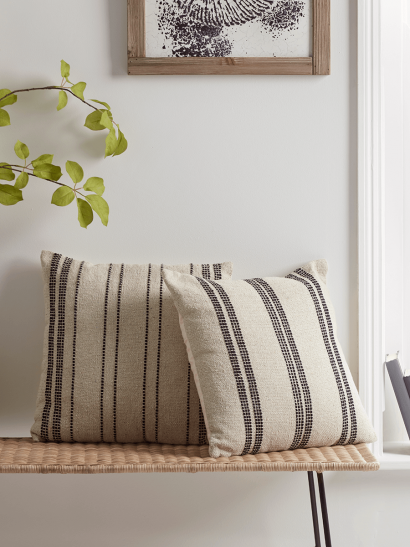 NEW Two Natural & Black Woven Stripe Cushions