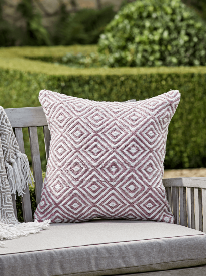 NEW Indoor Outdoor Squares Cushion - Blush