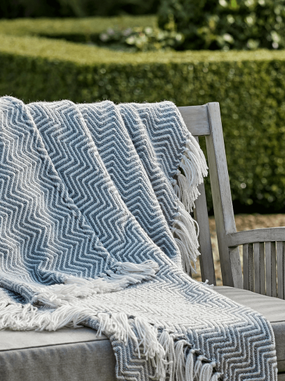 NEW Indoor Outdoor Herringbone Reversible Throw - Soft Blue
