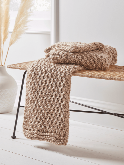 NEW Moss Stitch Knitted Throw