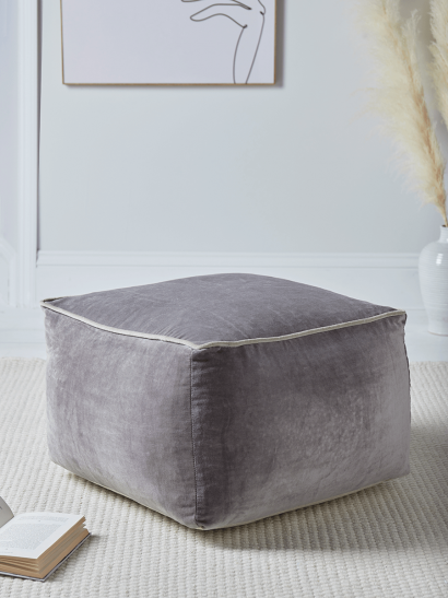NEW Velvet Piped Square Pouffe - Grey