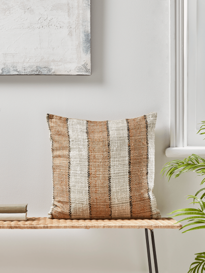 NEW Textured Woven Striped Cushion