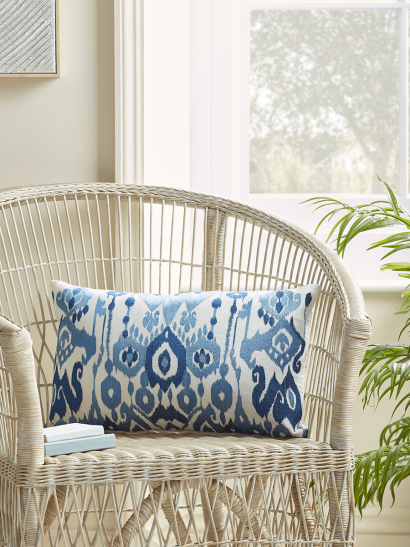 NEW Embroidered Blue Ikat Cushion