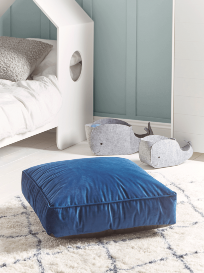 NEW Velvet Square Floor Cushion - Navy