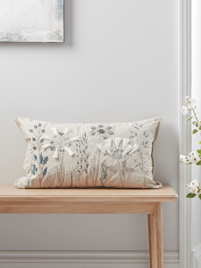 NEW Embroidered Flowers Cushion