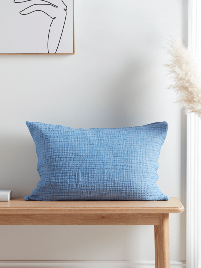 NEW Organic Cotton Cushion - Soft Blue