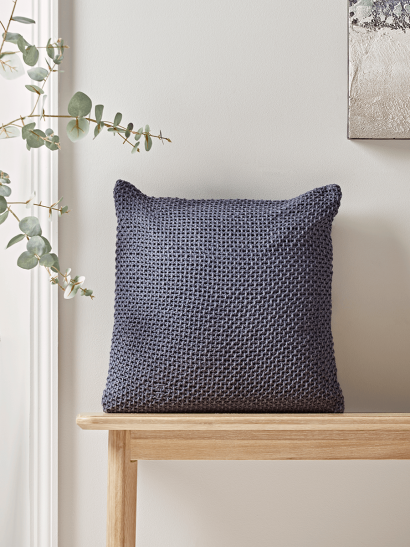 NEW Knitted Cotton Cushion - Blue