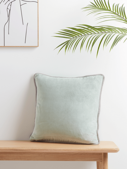NEW Velvet Piped Square Cushion - Sage
