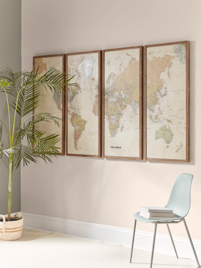 Four Panel Wall Map