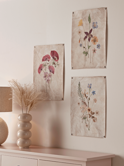 NEW Pressed Flower Canvas Triptych
