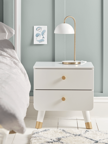 NEW Chevron Bedside Table - White