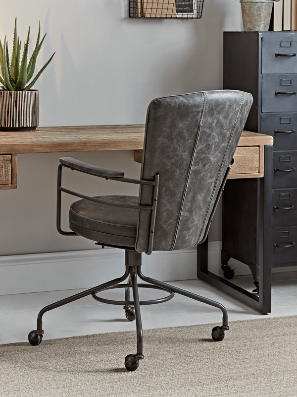 Industrial Style Office Chair Grey, Stylish Office Furniture Uk